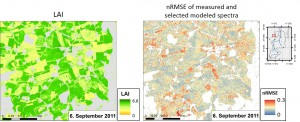 LAI map subset (September 6, 2011) and associated measure of parameter uncertainty