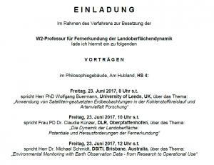 professorship for Remote Sensing of Land Surface Dynamics: Invitation to public talks