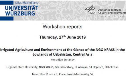 Workshop Report at the Department of Remote Sensing – June 27, 2019